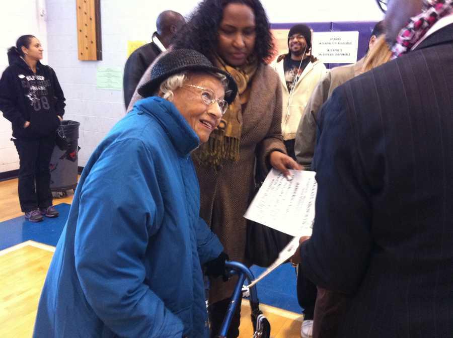 106-year-old Elizabeth Hinton gets her ballot in Dorchester