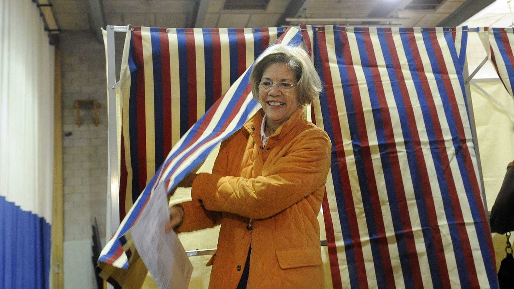 Elizabeth Warren votes in Cambridge.