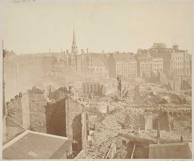 In this view, the ruins of the original Trinity Church, the Old South Meeting House and the New Post Office Building can be seen.