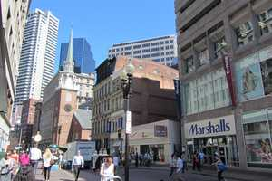 Washington Street looking toward the Old South Meeting House today.