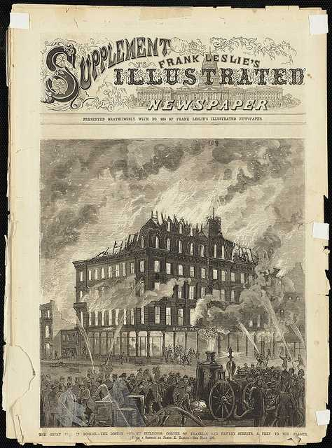 The Great Fire in Boston. The Boston Pilot Buildings, corner of Franklin and Hawley Streets, a prey to the flames