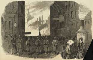 The Great Fire in Boston. The night patrol--the military guarding the entrance to Congress Street