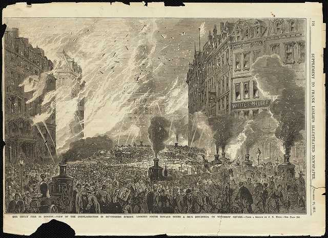 The Great Fire in Boston. View of the conflagration in Devonshire Street, looking south toward Beebe & Co.'s buildings on Winthrop Square