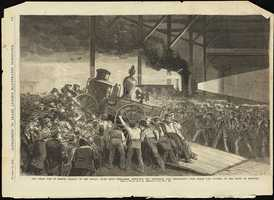 The Great Fire in Boston. Arrival of the special train from Worcester, conveying the Worcester Fire Department, with steam fire engines, to the scene of disaster