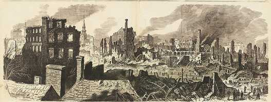 The Great Fire in Boston. General view, embracing the main portion of the burnt district, sketched from a house on Commerce, near Kingston Street