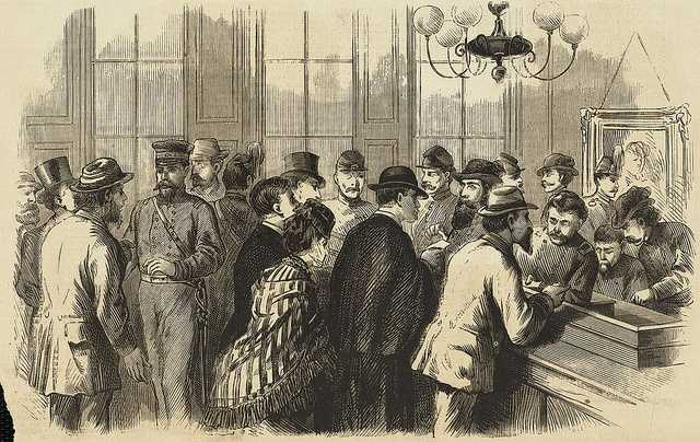 The Great Fire in Boston. Issuing passes to go into the burnt district, at General Burrill's headquarters, in the City Hall