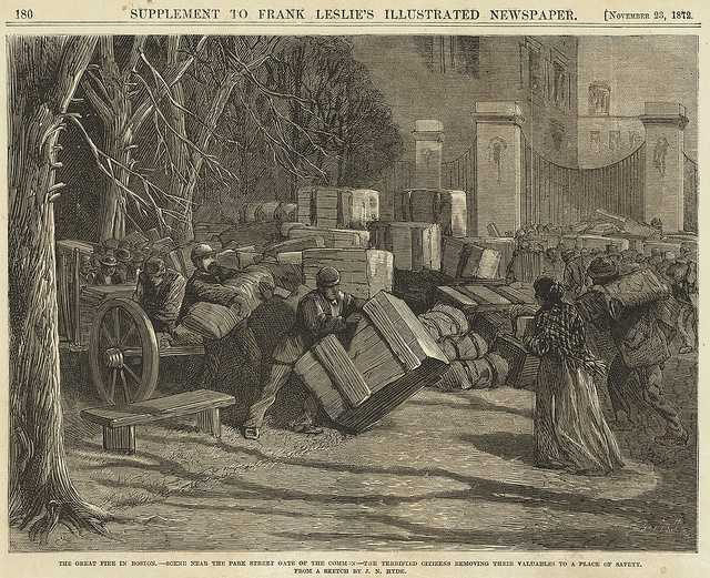 The Great Fire in Boston. Scene near the Park Street gate of the Common--the terrified citizens removing their valuables to a place of safety