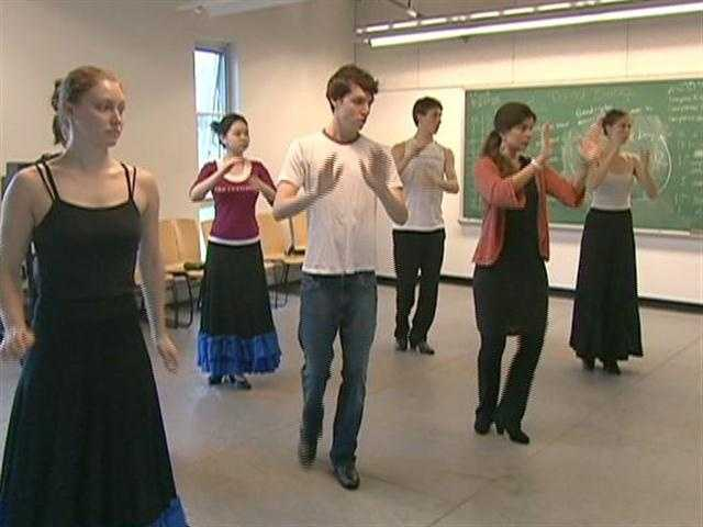 Students at Bard College at Simon's Rock study advanced flamenco dance.