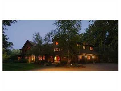 A view of the property at night.