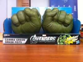 "Gamma Green Hulk Smash Fists According to W.A.T.C.H., there is the potential for blunt impact injuries. These oversized fists, resembling those of a popular Marvel comic book and movie character, are sold to enable three year olds to ""be incredible like The Hulk"" by ""smashing everything that gets in their way!"" No warnings or cautions are provided."
