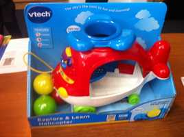 "Vtech Explore & Learn HelicopterAccording to W.A.T.C.H., there is the potential for strangulation and entanglement injuries. Despite the industry's standard requiring strings on playpen and crib toys to be less than 12 inches in length, manufacturers are still permitted to market ""pull toys"" such as this ""Vtech Baby Explore & Learn Helicopter"" with a cord measuring approximately 24 inches. Sold to reward ""baby's curiosity"", the manufacturer ""encourages little ones to discover and learn with a cute puppy friend!"" The toy is intended for babies as young as 12 months old and thus, is a prime candidate for crib and playpen injuries."