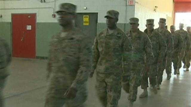 Dozens and dozens of National Guard soldiers from the 182nd Engineer Company returned home to the Newburyport Armory  just in time from Thanksgiving. The welcome home for the Massachusetts National Guard soldiers was overwhelming for some.