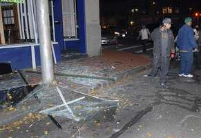 Glass and debris litter a downtown Springfield street after the explosion.