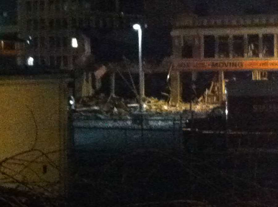 A building leveled by the blast.