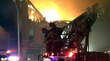 A 6-alarm fire destroyed an historic building in Leominster Saturday night.