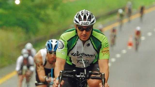 Northborough Sgt. Jim Bruce nears the finish line at the Ironman U.S. Championship in New York City in August.