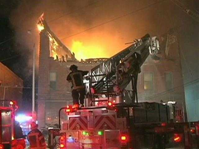 The fire broke out at about 10 p.m. at the former Columbia Hotel building at 65 Main St.The building was built in 1900, according to the city's assessor's office.