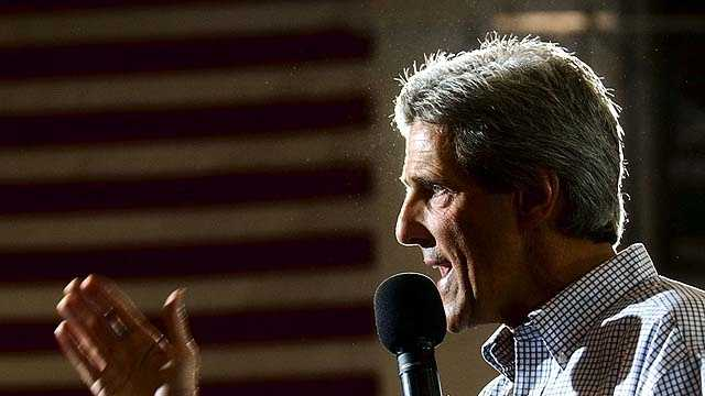 Democratic Presidential candidate Sen. John Kerry, D-Mass., speaks at a town meeting at the River Valley Middle School in Spring Green, Wisc., Monday, Sept. 27, 2004.