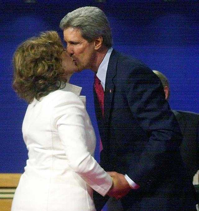 Democratic presidential candidate Sen. John Kerry, D-Mass., kisses his wife Teresa Heinz Kerry after the presidential debate in Coral Gables, Fla., Thursday, Sept. 30, 2004.