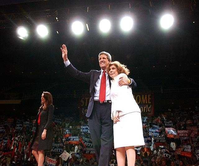 Democratic Presidential candidate Sen. John Kerry, D-Mass., reacts to the crowd with Teresa Heinz Kerry and daughter Alexandra at Miami Arena as he arrives at a rally after participating in the of the first of three Presidential debates in Miami, Florida Thursday, Sept. 30, 2004.