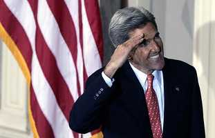 Sen. John Kerry, D-Mass. salutes supporters before delivering his concession speech in Boston's Faneuil Hall, Wednesday, Nov. 3, 2004.