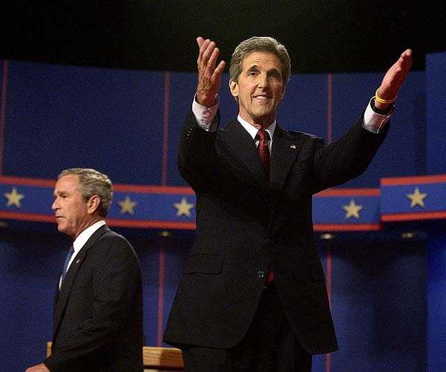 Democratic Presidential candidate Sen. John Kerry, D-Mass., gestures for his wife Teresa Heinz Kerry as President Bush walks towards his family after their the first of their three Presidential debates at the University of Miami in Coral Gables, Fla. in this Sept. 30, 2004 file photo.