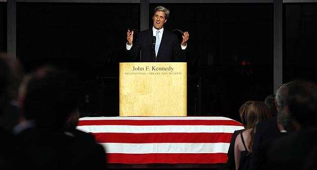 Sen. John Kerry, D-Mass., participates in a Celebration of Life Memorial Service as he pays tribute to Sen. Edward Kennedy at the John F. Kennedy Presidential Library, Friday, Aug. 28, 2009 in Boston.