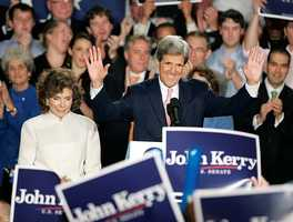 Sen. John Kerry, D-Mass, center, greets the crowd with his wife Teresa Heinz Kerry, left, by his side, during his re-election victory party at a hotel in Boston, Tuesday, Nov. 4, 2008.