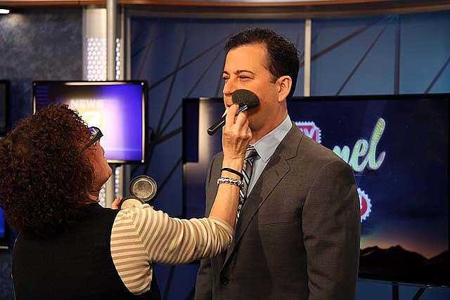 Kimmel gets make up before the shoot.