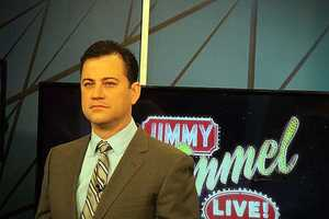 Kimmel came to Boston to tape promos for his show, which is moving to 11:35 p.m. this Tuesday, January 8.