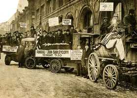 """Jan. 16, 1920: John Barleycorn's """"funeral"""" was staged by Boston Prohibitionists in front of the Morgan Memorial Church of All Nations in the South End as the 18th Amendment's prohibition on alcohol took effect at midnight Jan. 16, 1920."""