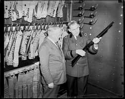 Commissioner McSweeny and Superintendent King at Boston Police Headquarters, likely during Prohibition.