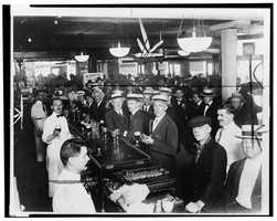 The sale of alcohol was illegal, but alcoholic drinks were still widely available. People also kept private bars to serve their guests.