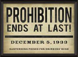 Prohibition ended in the United States on Dec. 5, 1933.