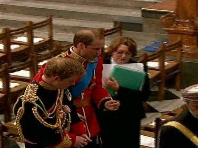Prince William and his brother Prince Harry arrived at the church before the bride in stunning military uniforms.