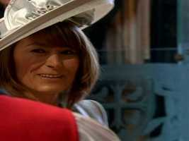 Mother of the bride Carole Middleton entering the abbey.