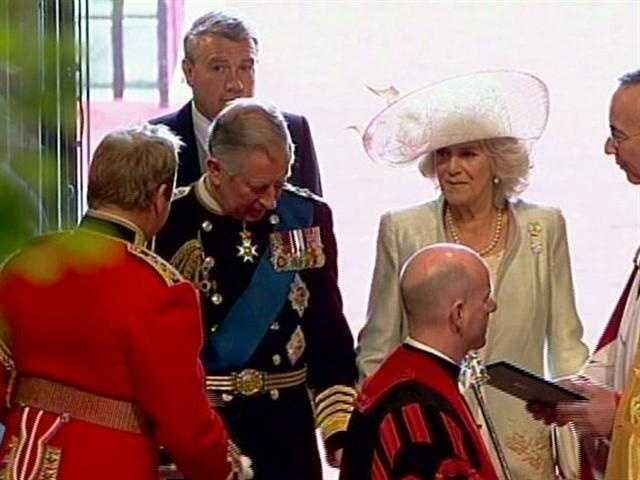 Prince Charles and Camilla arrive at the abbey.