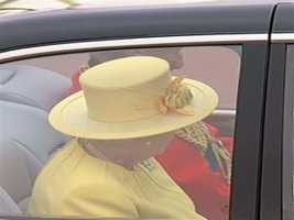Queen Elizabeth arrived after her son with her consort, Phillip.