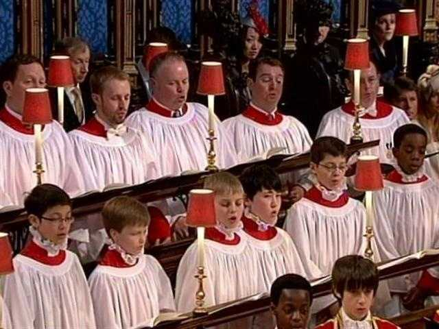 The choir singing music that was said to have been suggested by Prince Charles.