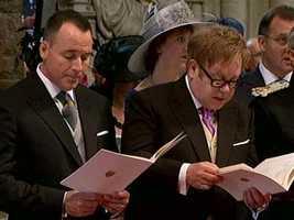 Among the invited guests, Sir Elton John, right, who sang at Princess Diana's funeral.