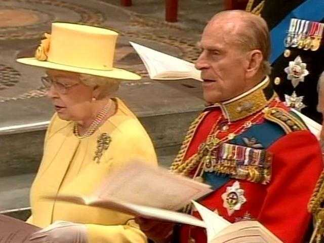 "Phillip, the queen's husband and William's grandfather, singing ""God Save the Queen."""