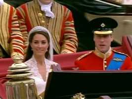The royal couple boarded a carriage for the ride to Buckingham Palace.