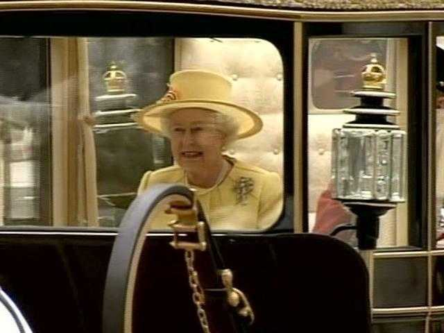 The normally staid Queen Elizabeth almost seemed to be enjoying the spectacle.