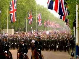 Plenty of horses and flags for the parade ... and the Union Jack everywhere.
