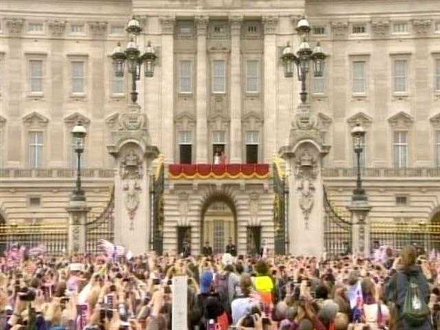 The Buckingham Palace balcony awaiting the royals.