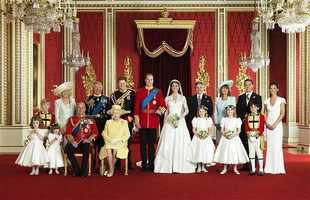 The Duke and Duchess of Cambridge (centre), Front row (left to right): Miss Grace van Cutsem, Miss Eliza Lopes, HRH The Duke of Edinburgh, HM The Queen, The Hon. Margarita Armstrong-Jones, Lady Louise Windsor, Master William Lowther-Pinkerton. Back Row (left to right): Master Tom Pettifer, HRH The Duchess of Cornwall, HRH The Prince of Wales, HRH Prince Henry of Wales, Mr Michael Middleton, Mrs Michael Middleton, Mr James Middleton, Miss Philippa Middleton
