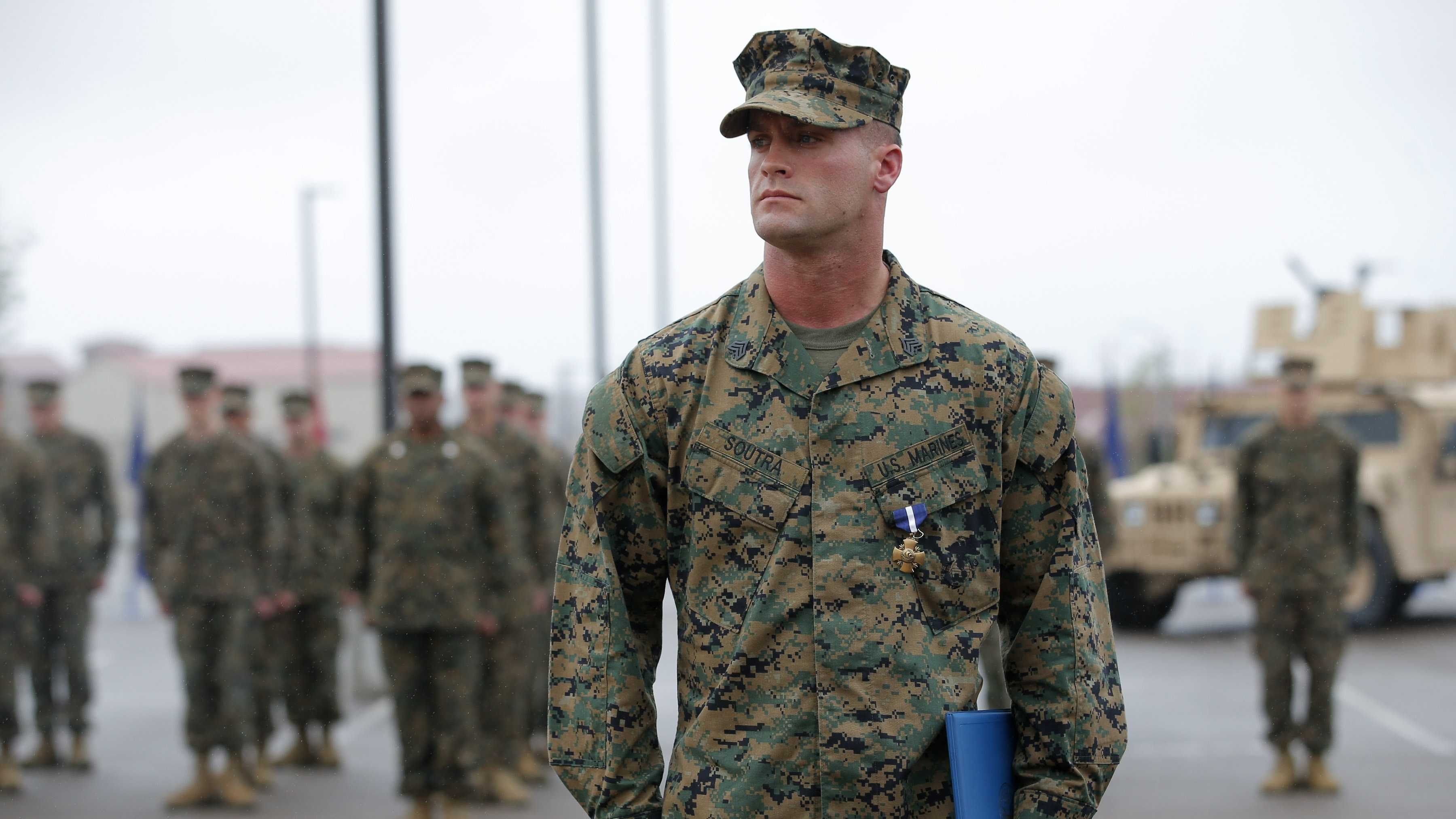 U.S. Marine Sgt. William Soutra Jr. wears the Navy Cross during a ceremony held at Camp Pendleton, Calif., Monday, Dec. 3, 2012. Soutra Jr. was awarded the medal for his heroism while serving in Afghanistan.