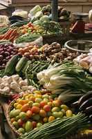 Natural foods, fresh colorful veggies and supplements