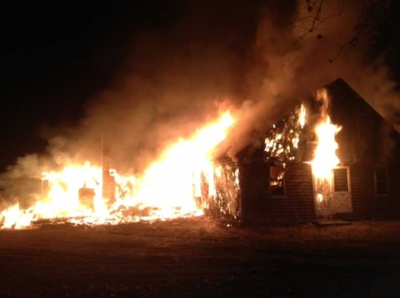 An abandoned house was destroyed by fire in Middleboro on Thanksgiving.