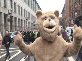 Ted himself even took part in the run, wearing a green Speedo (not shown).
